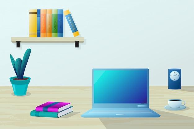 Ilustracja miejsca pracy. laptop na drewnianym stole