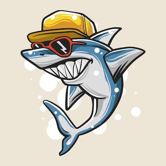 Ilustracja miejski rekin chłopiec
