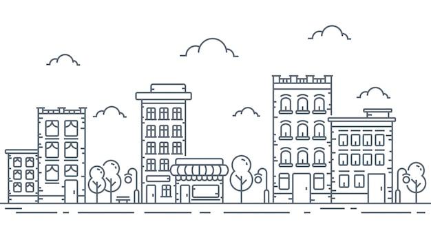 Ilustracja miejskich w cienkie linie