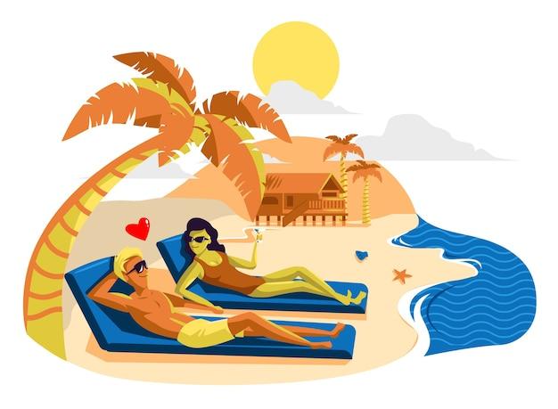 Ilustracja miesiąc miodowy, rajska wyspa.