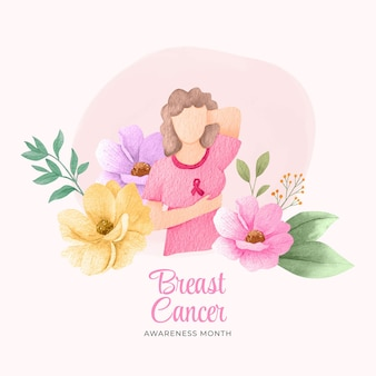 Ilustracja miesiąca świadomości raka piersi w akwareli