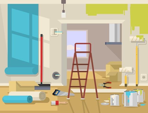 Ilustracja mieszkanie remontu mieszkania
