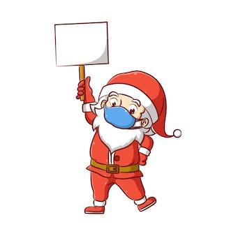Ilustracja mikołaja z czerwonym kostiumem i niebieską maską trzymającą w ręku pustą tablicę