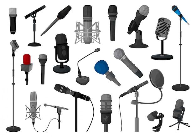 Ilustracja mikrofonu. kreskówka zestaw ikona muzyki mikrofon.