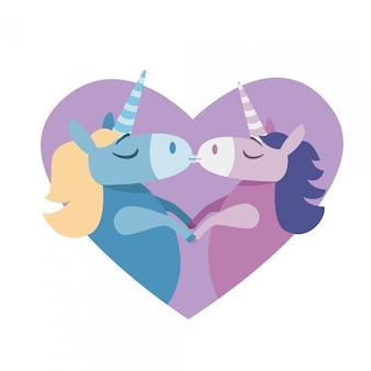 Ilustracja miłości całuje kilka jednorożców - pocztówka walentynki. słodkie zwierzęta fantasy w miłości. kolory retro