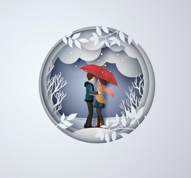 Ilustracja miłości i sezonu zimowego