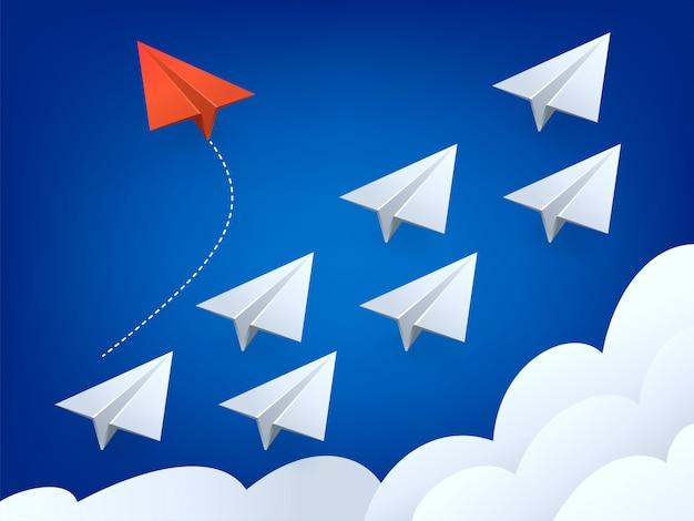Ilustracja minimalistycznego stylu czerwony samolot zmienia kierunek i białe. nowy pomysł, zmiana, trend, odwaga, kreatywne rozwiązanie, innowacja i unikalna koncepcja.
