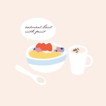 Ilustracja miska śniadanie płatki owsiane z różnymi owocami i filiżankę kawy. zdrowa dieta wegańska