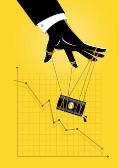 Ilustracja mistrza lalek kontrolującego wykres graficzny oleju