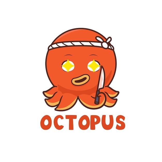 Ilustracja mistrza sushi ośmiornicy, projektowanie logo maskotki