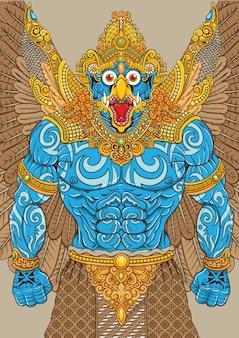 Ilustracja mitologii garuda z tradycyjnymi ornamentami