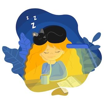 Ilustracja młoda dziewczyna czytała książkę i zasnęła ze swoim ulubionym czarnym kotem na głowie