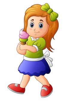 Ilustracja młoda dziewczyna trzyma lody