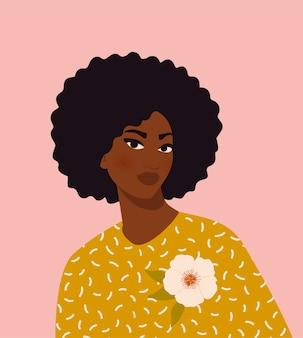 Ilustracja młoda kobieta afro-amerykańska
