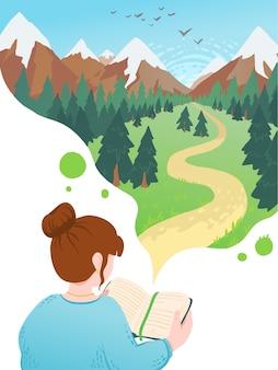 Ilustracja młoda kobieta, czytanie książki, marzy. miłośnik literatury motywacyjnej.