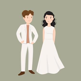 Ilustracja młoda para w ślubnej sukni ilustraci