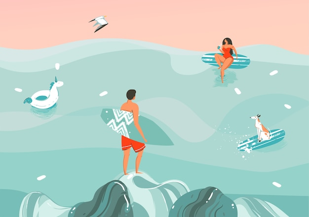 Ilustracja młoda para z psem na plaży