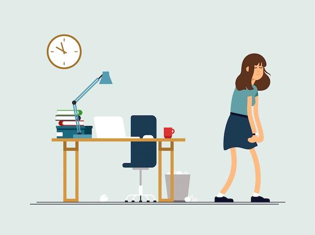 Ilustracja młoda zmęczona kobieta, senny nastrój, słabe zdrowie, psychiczny wyczerpany. koncepcja kobieca postać jest bardzo zmęczona po dniu pracy.