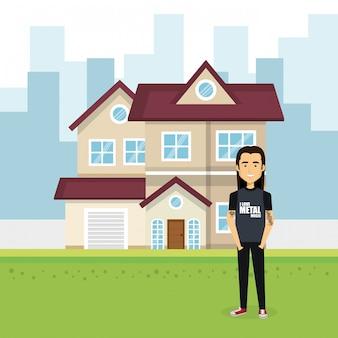Ilustracja młodego człowieka na zewnątrz domu