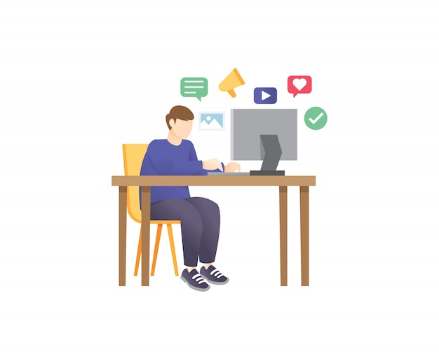 Ilustracja młodego marketera