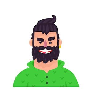 Ilustracja młodego mężczyzny. postać z kreskówki dorosły facet do reklamy i projektowania.