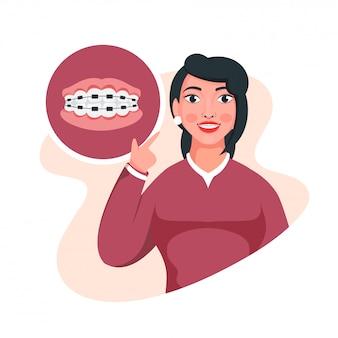 Ilustracja młodej dziewczyny pokazano jej szelki na zębach na białym tle.