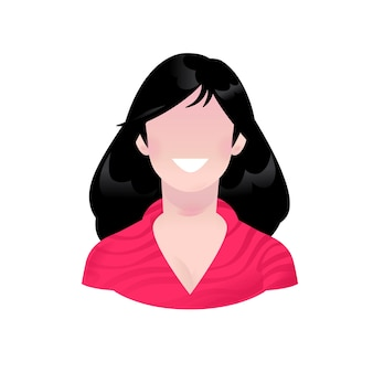 Ilustracja młodej dziewczyny z uśmiechem kreskówka uproszczony abstrakcyjny obraz kobiety