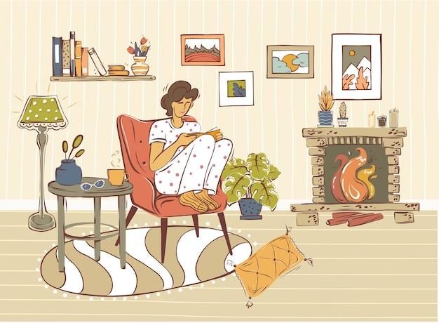 Ilustracja młodej kobiety siedzącej na wygodnej sofie i czytającej książkę w pokoju urządzonym w modnym stylu skandynawskim. hygge.