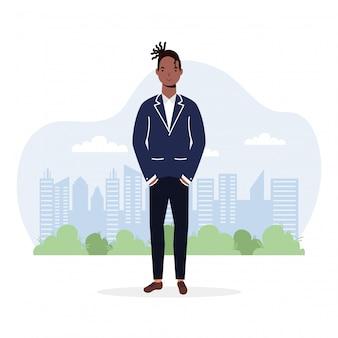 Ilustracja młody mężczyzna afro