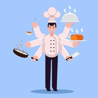 Ilustracja młody szefa kuchni wielozadaniowość