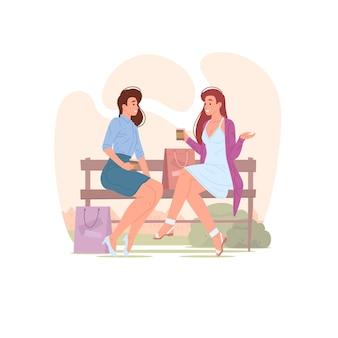 Ilustracja młodych kobiet siedzących na ławce w parku z papierowymi torbami
