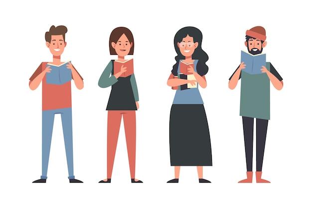 Ilustracja młodych ludzi czytających