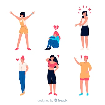 Ilustracja młodych ludzi emocji