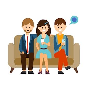 Ilustracja młodych ludzi komunikujących się w mediach społecznościowych