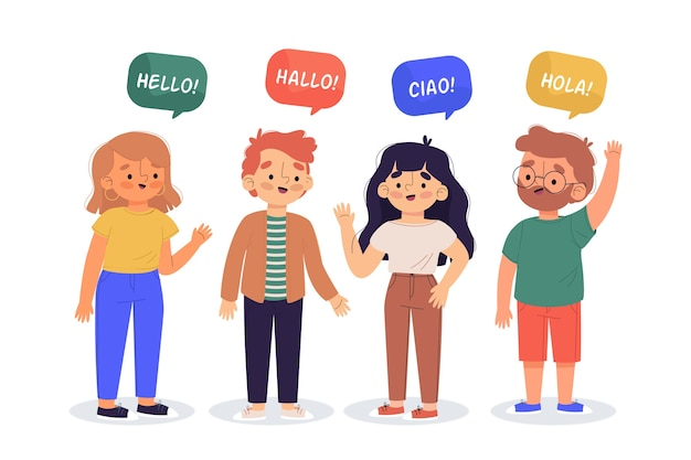 Ilustracja młodych ludzi mówiących w różnych językach