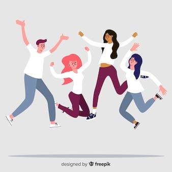 Ilustracja młodych ludzi skaczących