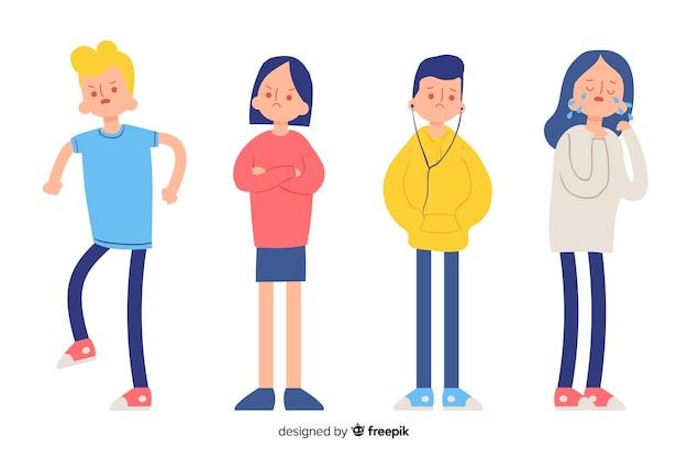 Ilustracja młodych ludzi z różnymi emocjami