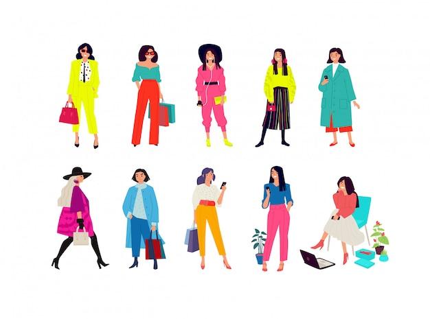 Ilustracja młodych modnych dziewcząt.