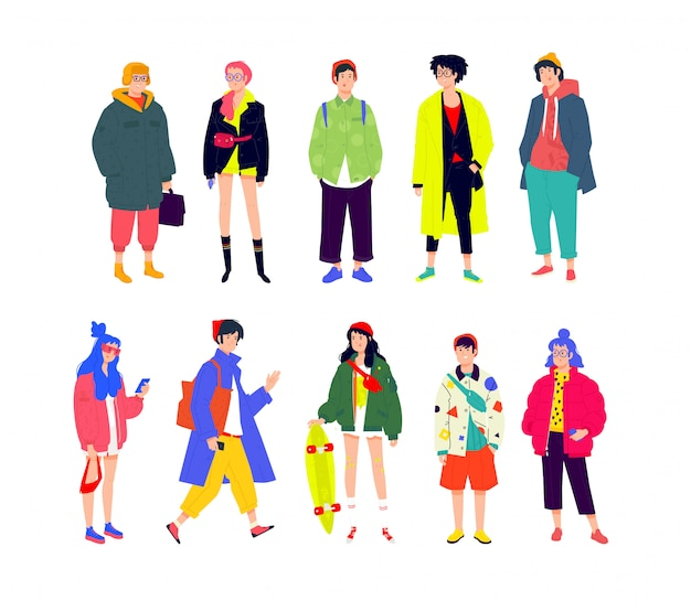 Ilustracja młodych modnych ludzi. dziewczęta i chłopcy w modnych, nowoczesnych ubraniach.