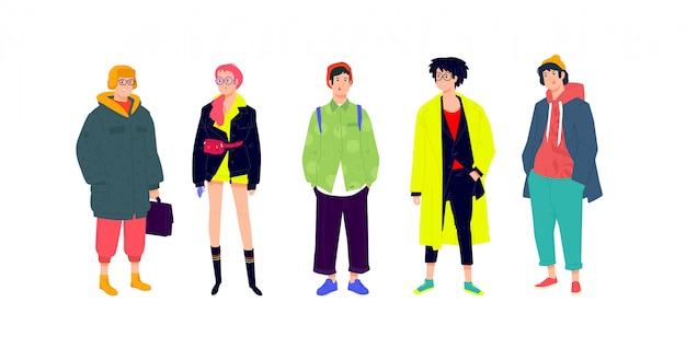 Ilustracja młodych modnych ludzi.