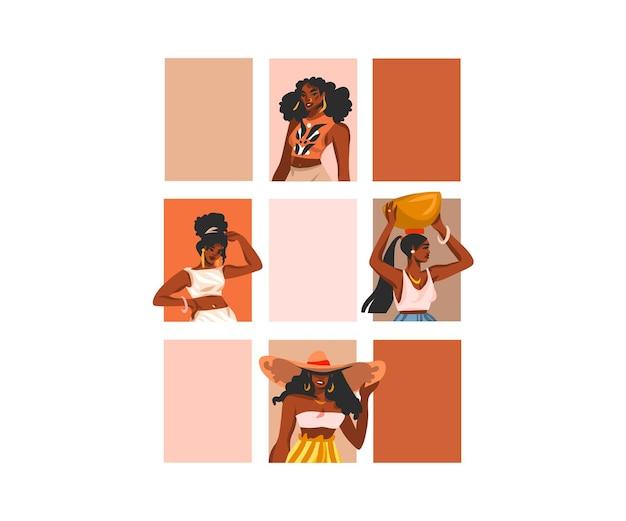 Ilustracja młodych szczęśliwych czarnych kobiet urody afro american grupy skład awatara stylu życia na białym tle