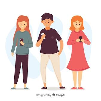 Ilustracja młodzi ludzie patrzeje ich smartphones