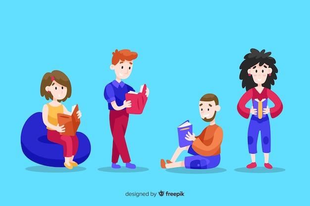 Ilustracja młodzi ludzie spędza czas czytający wpólnie