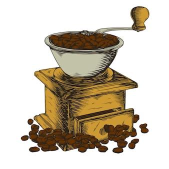 Ilustracja Młynka Do Kawy Premium Wektorów