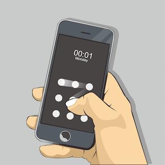 Ilustracja mobilna z ekranem blokady