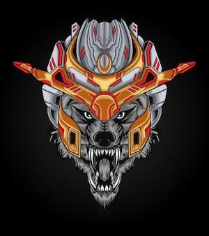 Ilustracja mocy głowy wilka mecha idealna do projektowania