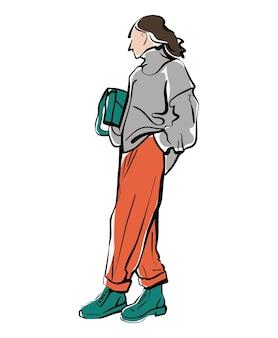Ilustracja moda dziewczyna w spodniach i swetrze