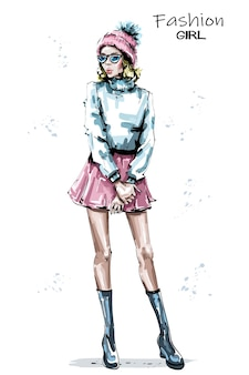 Ilustracja moda dziewczyna zima wygląd