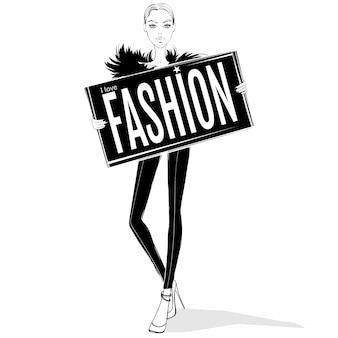 Ilustracja moda dziewczyna