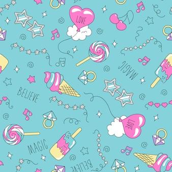 Ilustracja moda sztuka rysunek w nowoczesnym stylu na ubrania. rysowanie ubrań lub tkanin dla dzieci. wzór lodów i słodyczy.